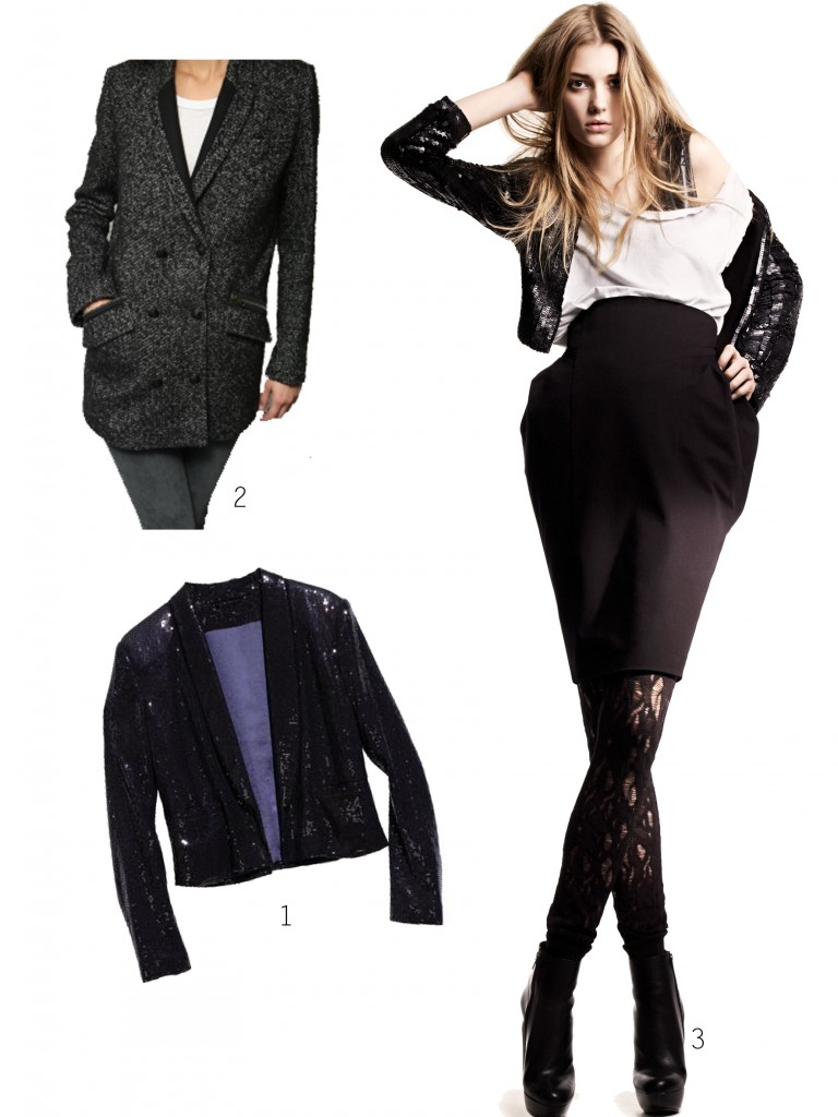 1.Veste à sequins H&M  2.Manteau The Kooples  3. Look H&M