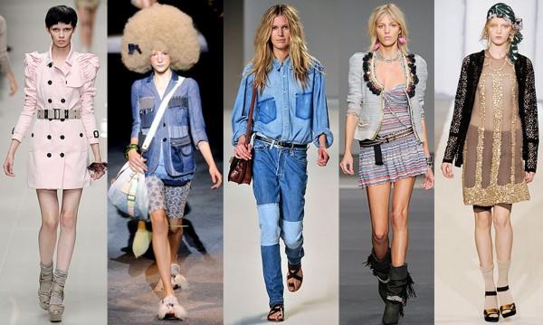 De gauche à droite: Burberry, Marc Jacobs, Chloé, Isabel Marant, Marni. Sources des défilés: www.style.com
