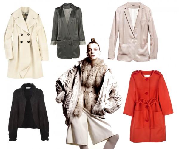 De gauche à droite: Manteau nude Burberry, pull noir New Look, veste blazer Topshop, look H&M, veste blazer nude H&M, manteau cerise Aquascutum