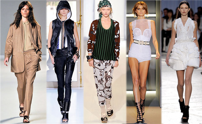 Défilés printemps-été 2010. De gauche à droite: Chloé, Balenciaga, Marni, Sophia Kokosalaki, Givenchy. Source:www.style.com