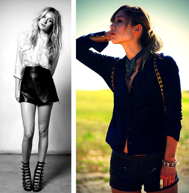 Comment porter le short en cuir? De gauche à droite: Chloé Sévigny, Rumi de Fashiontoast.