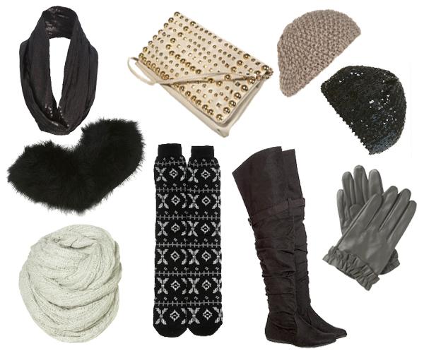 Comment rester glamour par temps froid? Snood à sequins New Look, écharpe en fausse fourrure Topshop, snod en laine Topshop, pochettes à clous Topshop, cuissardes Etam, chaussettes de ski Topshop, gants en cuir gris New Look, bonnet à sequins et bonnet en crochet taupe Topshop.