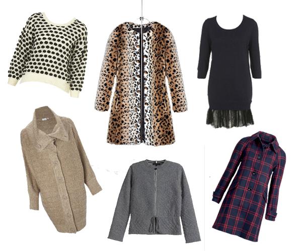 Comment rester glamour par temps froid? Pull à pois Topshop, cardigan beige New Look, manteau en léopard Zara, gilet gris Maje, robe en maille et dentelle Topshop, manteau à carreaux H&M.