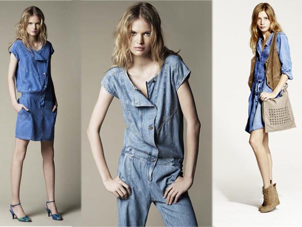 Comment porter le total look jean? De gauche à droite: BA&SH et Ikks.
