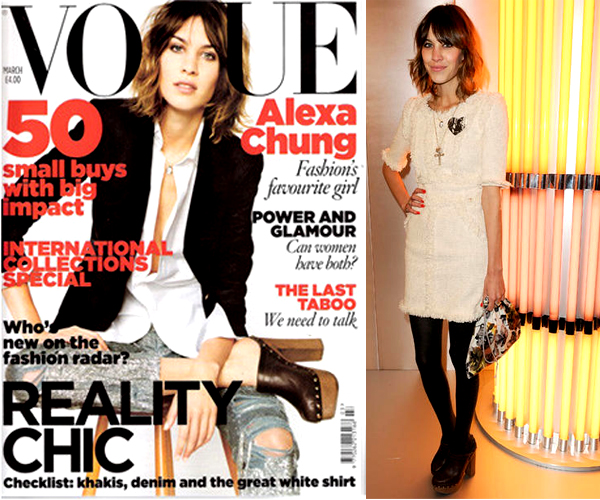 Tendances printemps-été 2010: les sabots.Alexa Chung porte les sabots notamment en couverture de Vogue.