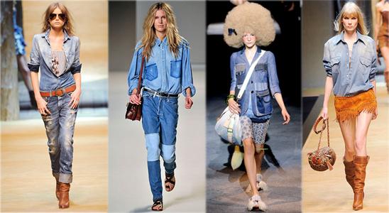 Comment porter le jean? Défilés printemps-été 2010. De gauche à droite: D&G, Chloé, Louis Vuitton, D&G. Source:www.style.com