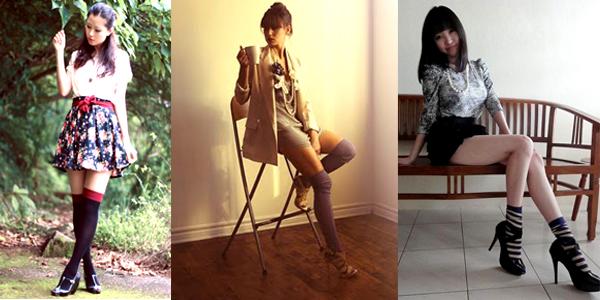 Tendances printemps-été 2010: les socquettes. De gauche à droite: Mayo W. de http://fleasonglamrobe.blogspot.com; Fashion Leaka de http://fashionleaka.blogspot.com et Baby Q. de http.baoqier.blogspot.com