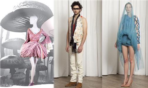 Alice au pays des Merveilles. de gauche à droite: Alexander Mc Quenn pour le Printemps, créations de Martin Margiela.