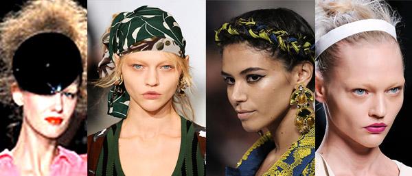 Tendances printemps-été 2010:accessoires de tête. De gauche à droite: Chloé,Luella, Marc by Marc Jacobs et Dolce&Gabbana. Source:www.style.com
