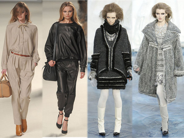 Best of des défilés Fashion Week Hiver 2010. Collection Chloé (2 looks de gauche) et Chanel(2 looks de droite). Source:http://madame.lefigaro.fr