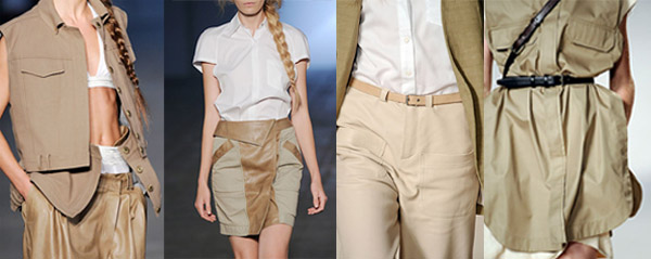 Tendances été 2010: vestiaire utilitaire. De gauche à droite: