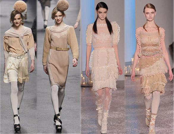 Best of des défilés Fashion Week Hiver 2010. CollectionSonia Rykiel (2 looks de gauche) et Rodarte(2 looks de droite). Source:http://madame.lefigaro.fr