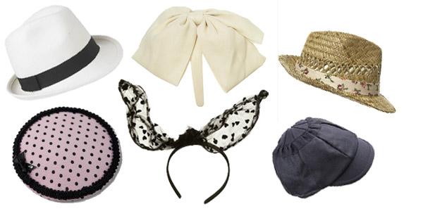 Tendances printemps-été 2010:accessoires de tête. De gauche à droite: