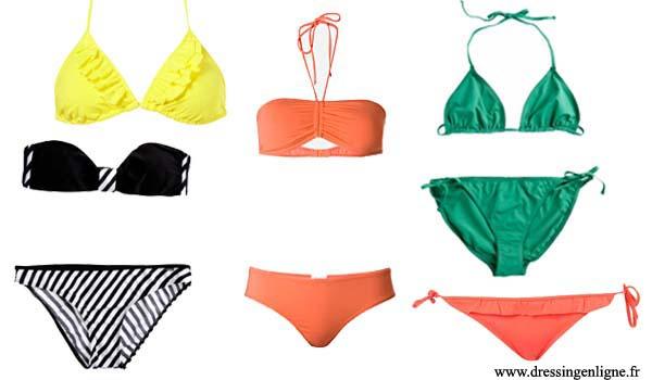 Tendances maillots de bain printemps-été 2010. De gauche à droite: maillot noir et blanc Dim, haut jaune Topshop, maillot pêche Mango, maillot vert Petit Bateau et bas Topshop.