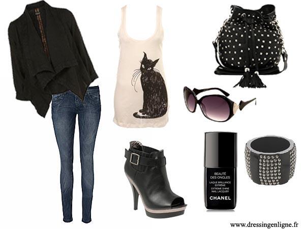 Comment s'habiller pour sortir en soirée? De gauche à droite et de haut en bas: veste noire Topshop, top chat noir Miss Selfridge, sac en cuir ASOS, jean New Look, bottines ASOS, vernis noir Chanel, lunettes de soleil Miss Selfridge, bracelet New Look.